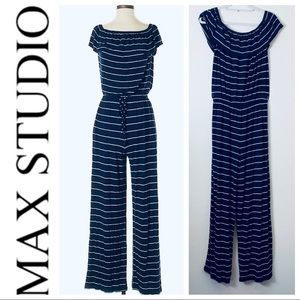LIKE NEW MAX STUDIO Blue White Stripe JUMPSUIT